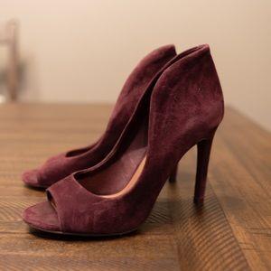 Vince Camuto Faux Suede Peep Toe Heels 7.5